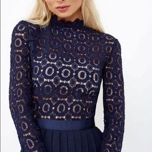 15a54df5fd0 Little Mistress Dresses - Navy Crochet Lace Midi Dress with Pleats. NWT